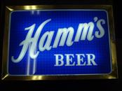 HAMMS BEER SIGN - DOUBLE SIDED - NOTICEABLE  COSMETIC DAMAGE - WORKS!